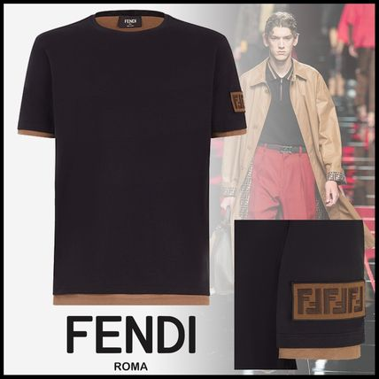 FENDI Crew Neck Crew Neck Monogram Unisex Cotton Short Sleeves