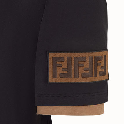 FENDI Crew Neck Crew Neck Monogram Unisex Cotton Short Sleeves 4