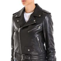 Saint Laurent Short Street Style Plain Leather Elegant Style Jackets