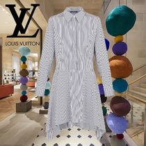 Louis Vuitton Stripes Cotton Elegant Style Dresses