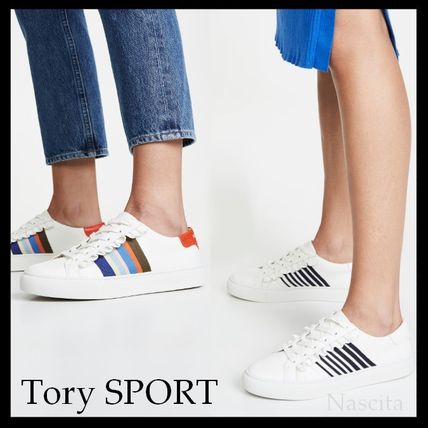 Stripes Round Toe Rubber Sole Casual Style Street Style