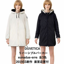 DUVETICA Stand Collar Coats Blended Fabrics Plain Medium Khaki Coats