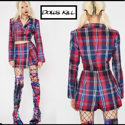 Short Other Check Patterns Casual Style Long Sleeves Dresses