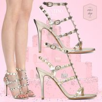 VALENTINO Open Toe Blended Fabrics Studded Plain Leather Pin Heels