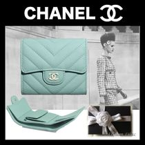 CHANEL Calfskin Plain Folding Wallets