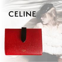 CELINE Strap Calfskin Plain Bold Folding Wallets