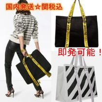 Off-White Stripes Casual Style Unisex Canvas Street Style A4 Totes