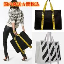 Off-White Stripes Unisex Canvas Street Style A4 Totes
