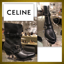 CELINE Plain Leather Elegant Style Wedge Boots