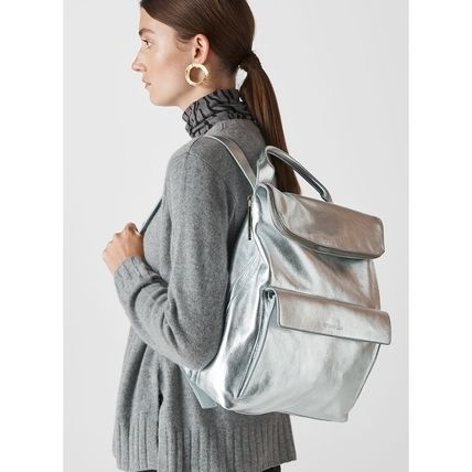 Casual Style A4 Plain Leather Backpacks
