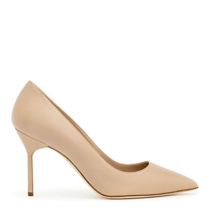 Plain Leather Pin Heels Formal Style