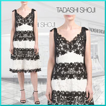TADASHI SHOJI Flower Patterns A-line Sleeveless V-Neck Bi-color Medium