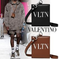 VALENTINO VLTN Calfskin Studded Street Style Folding Wallet Card Holder