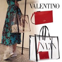 VALENTINO Unisex Blended Fabrics Studded A4 2WAY Leather Totes