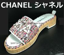 CHANEL SPORTS Other Check Patterns Open Toe Casual Style Tweed