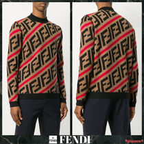 FENDI FOREVER Crew Neck Monogram Wool Street Style Long Sleeves