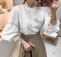 Flower Patterns Lace Puff Sleeves Shirts & Blouses