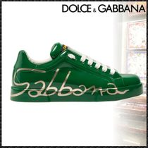 Dolce & Gabbana Blended Fabrics Street Style Plain Leather Sneakers