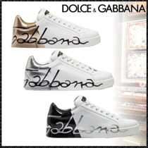 Dolce & Gabbana Blended Fabrics Street Style Leather Sneakers