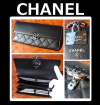 CHANEL MATELASSE Unisex Leather Long Wallets