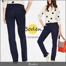 Boden Plain Cotton Long Elegant Style Skinny Pants