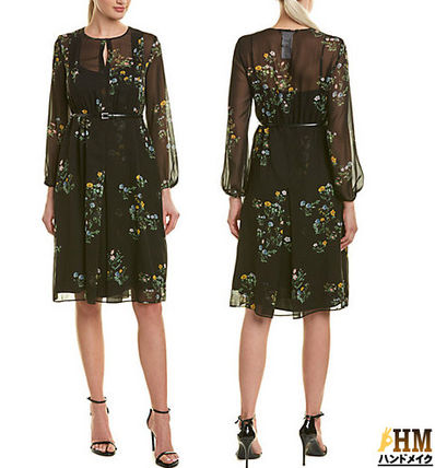 Crew Neck Wrap Dresses Flower Patterns Silk Dolman Sleeves