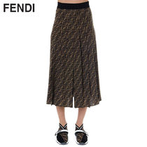 FENDI Monogram Casual Style Silk Pleated Skirts Medium Midi Skirts
