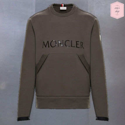 MONCLER Sweatshirts Crew Neck Pullovers Street Style Long Sleeves Plain Cotton