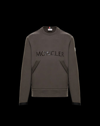 MONCLER Sweatshirts Crew Neck Pullovers Street Style Long Sleeves Plain Cotton 2