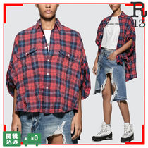 R13 Tartan Casual Style Short Sleeves Shirts & Blouses