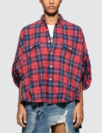 Tartan Casual Style Short Sleeves Oversized Shirts & Blouses