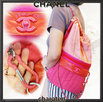 CHANEL ICON Nylon Street Style 2WAY Bi-color Chain Purses Elegant Style