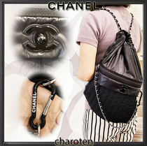 CHANEL ICON Unisex Nylon Street Style A4 2WAY Chain Plain Backpacks