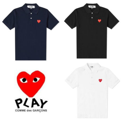Heart Street Style Plain Cotton Short Sleeves Polos
