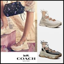Coach Round Toe Rubber Sole Lace-up Casual Style Leather