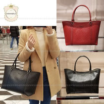 GUCCI Casual Style A4 Leather Totes