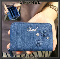 CHANEL ICON Flower Patterns Canvas Studded Plain Coin Purses