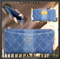 CHANEL ICON Unisex Denim Plain Wallets & Small Goods