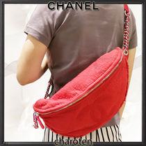 CHANEL ICON Unisex Canvas Street Style 3WAY Chain Plain Hip Packs
