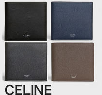 CELINE Unisex Plain Leather Khaki Folding Wallets