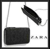 ZARA Studded 2WAY Plain Elegant Style Shoulder Bags