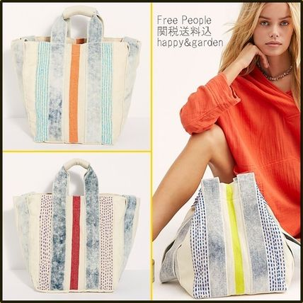 Stripes Casual Style Canvas A4 2WAY Totes