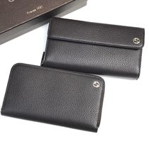 GUCCI Plain Leather Long Wallets