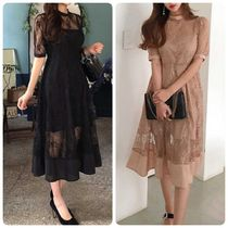 Flared Cropped Long Party Style Lace Dresses
