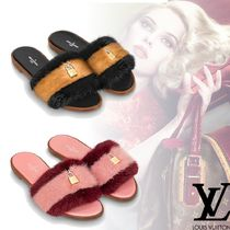 Louis Vuitton Open Toe Platform Fur Plain Elegant Style
