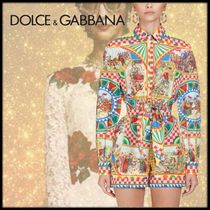 Dolce & Gabbana Bi-color Long Sleeves Cotton Long Party Style
