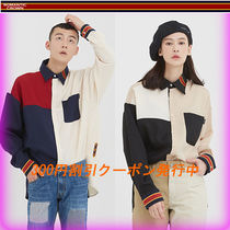 ROMANTIC CROWN Casual Style Unisex Street Style Bi-color Long Sleeves
