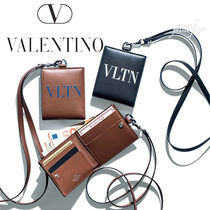VALENTINO Unisex Plain Leather Wallets & Small Goods