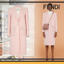 FENDI Wool Plain Long Elegant Style Chester Coats