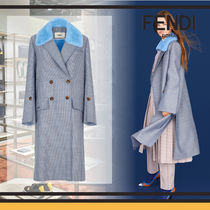 FENDI Stand Collar Coats Other Check Patterns Wool Blended Fabrics